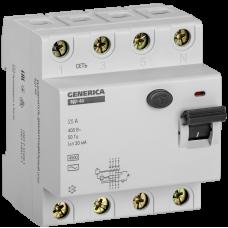 ПЗВ (пристрій захисн. відкл.) ВД1-63 4Р 25А 30мА GENERICA