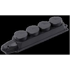 РБ34-1-0м Розетка (колодка) чотиримісна із захистними кришками ОМЕГА IP44