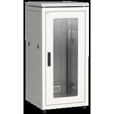 """ITK Шафа мережева 19"""" LINEA N, 24U, 600х600 мм, скляні передні двері, сіра"""