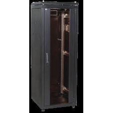 """ITK Шафа мережева 19"""" LINEA N, 18U, 600х800 мм, скляні передні двері, чорна"""
