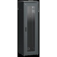 """ITK Шафа мережева 19"""" LINEA N, 42U, 600х600 мм, скляні передні двері, чорна"""