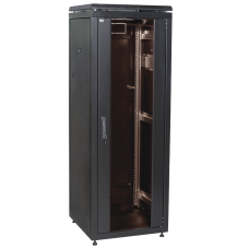 """ITK Шафа мережева 19"""" LINEA N, 28U, 600х600 мм, скляні передні двері, чорна"""