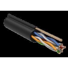 ITK Кабель зв'язку вита пара U/UTP, кат.5E 4х2х24(0,51мм)AWG, LDPE трос 1,2 мм, 305м, чорний
