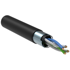 ITK Кабель зв'язку вита пара F/UTP, кат.5E 2х2х24(0,51мм)AWG solid, LDPE, 500м, чорний