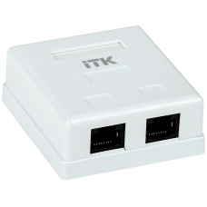ITK Настінна інформаційна розетка RJ45, кат.5Е UTP, 2-порта